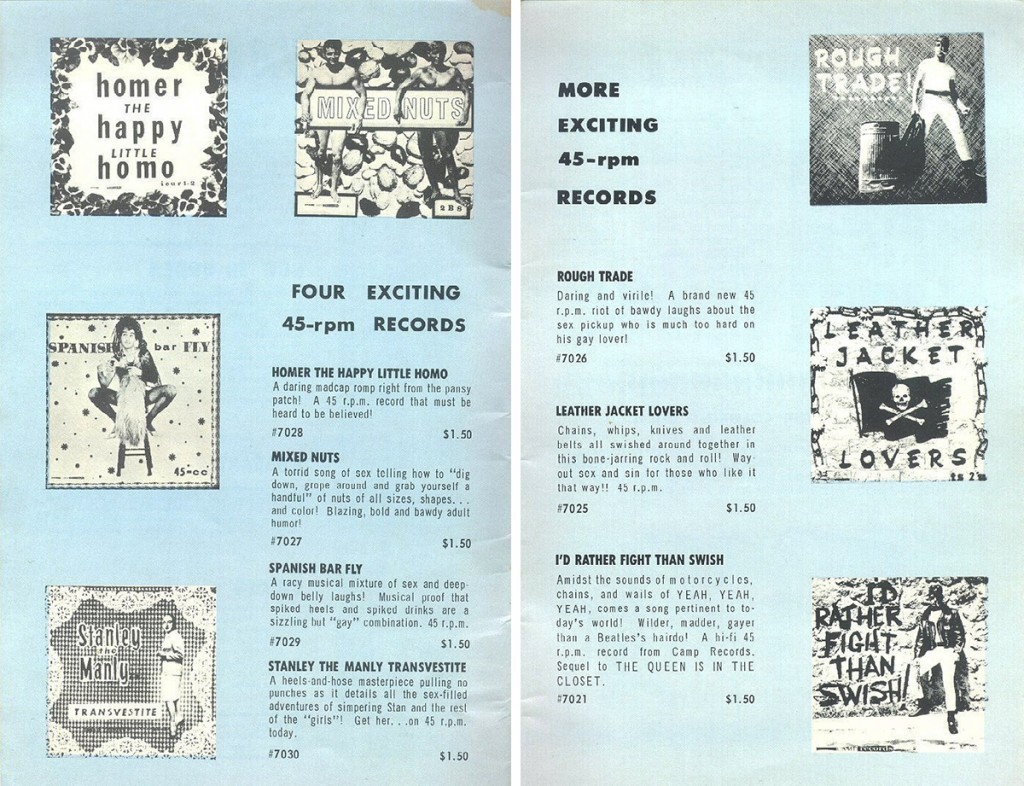 "Ads for Camp Records' singles as seen in Vagabond No. 7, 1965. Silly song titles included ""Homer the Happy Little Homo,"" ""Mixed Nuts,"" and ""Leather Jacket Lovers."" Courtesy of J.D. Doyle. (click to enlarge)"