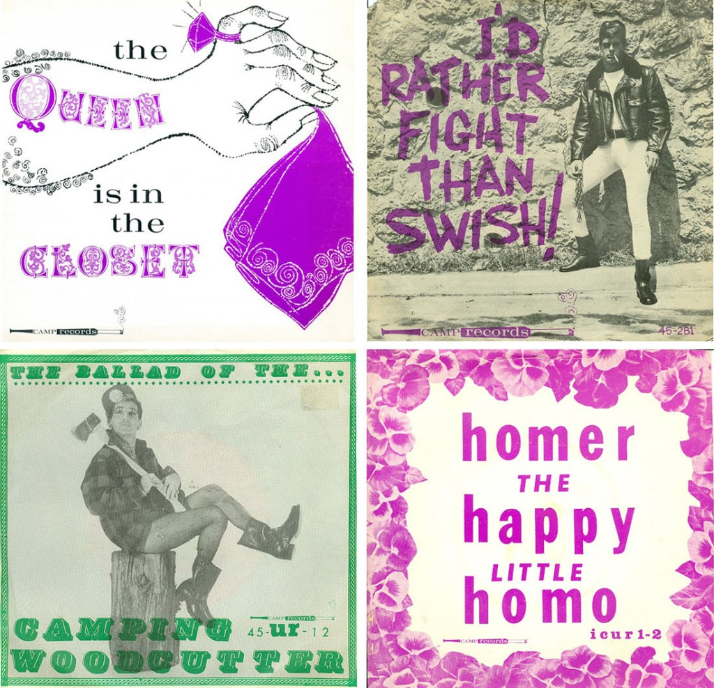 "Four cover designs for Camp Records, including the full LP, ""The Queen Is in the Closet"" (top left) as well as three singles from the mid-1960s. Courtesy of <a href=""http://www.queermusicheritage.com/"" target=""_blank"">J.D. Doyle</a>. (click to enlarge)"