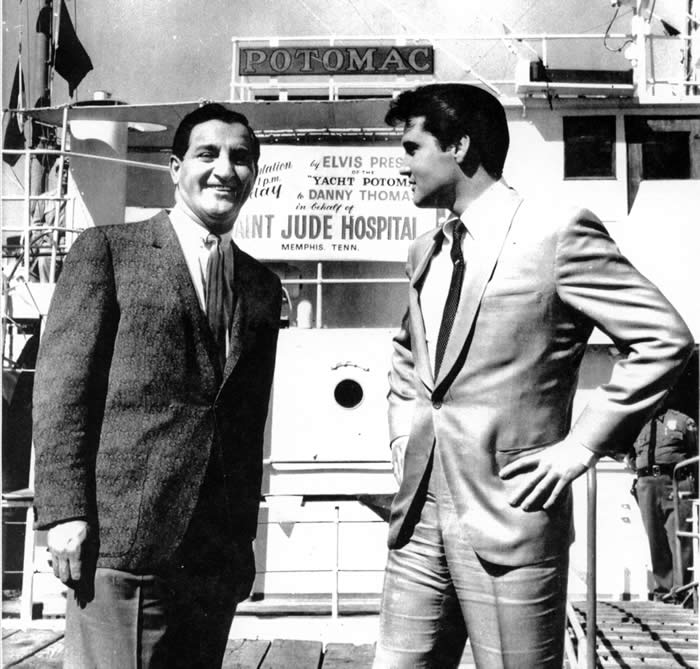 In 1964, Elvis Presley, seen here with entertainer Danny Thomas, purchased the Potomac and donated it to Saint Jude's Hospital, which promptly sold it.