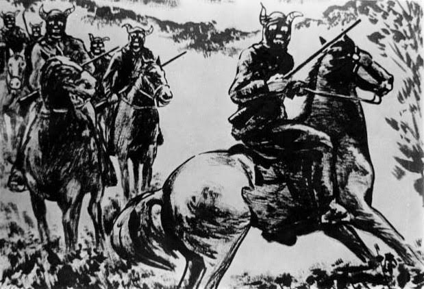 Another period illustration shows the fearsome Christian County Bald Knobbers on a night ride. (Courtesy of the Route 66 Museum and Research Center in Lebanon, Missouri)