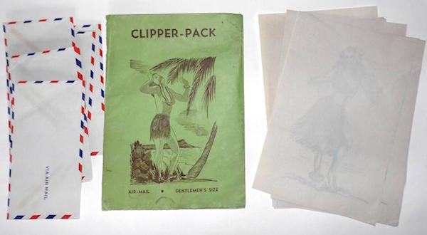 This 1940s Clipper-Pack came with sheets of risqué hula-girl onion-skin stationery and airmail envelopes. It's the sort of thing U.S. servicemen would buy in Honolulu to send notes to their friends.