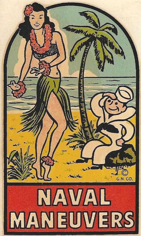 A 1946 souvenir decal shows how the myth of the hula girl loomed large for American servicemen throughout the 20th century.