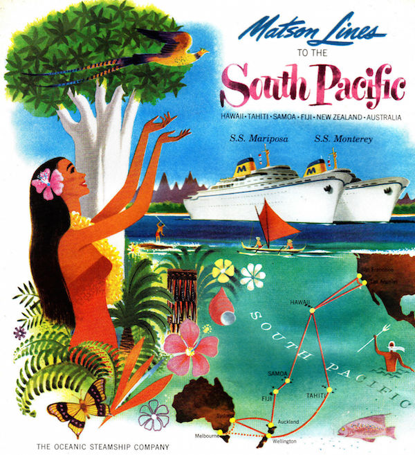 "A 1955 brochure, ""Matson Lines to the South Pacific,"" shows steamships arriving as a hula girl, surrounded by Hawaiian flora and fauna, admires a tropical bird.A 1955 brochure, ""Matson Lines to the South Pacific,"" shows steamships arriving as a hula girl, surrounded by Hawaiian flora and fauna, admires a tropical bird."