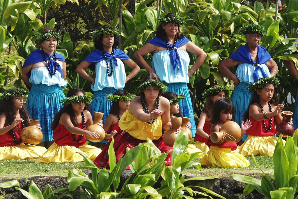 A 2005 hula kahiko performance at the hula platform in Hawaii Volcanoes National Park. (Photo by Ron Ardis, WikiCommons)