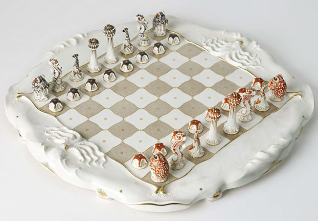 Meissen crafted this porcelain chess set featuring underwater creatures in the 1930s.