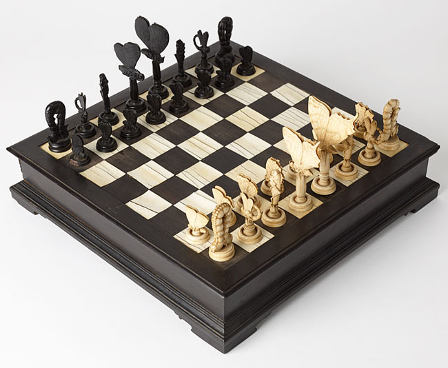This Italian chess set from the late 18th century features daylight butterflies in ivory and nocturnal moths in ebony.