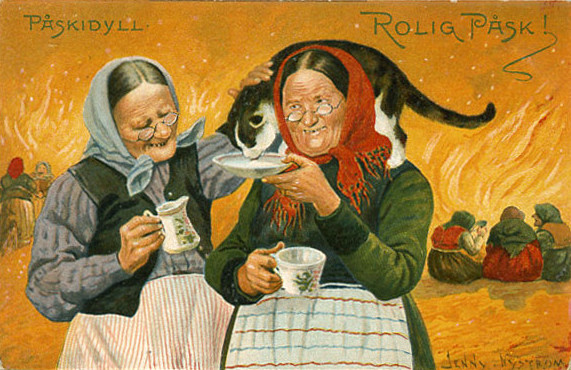 Turn-of-the-century illustrator Jenny Nystrom defined the image of the Easter Witch. Two hags nurture a cat at Blåkulla on a Nystrom postcard celebrating Easter idyll (Påskidyll) and Easter fun (Rolig Påsk). (Via Art Side)