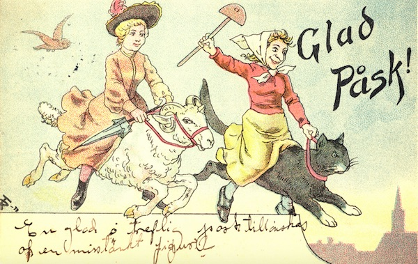 "Top: An Easter Witch hurtles toward a lake as a fisherman looks on in a mid-20th century postcard by Lars ""Lasse"" Carlsson. Above: Easter Witches ride a ram and a large house cat on this Glad Påsk card. (Via On Faith)"