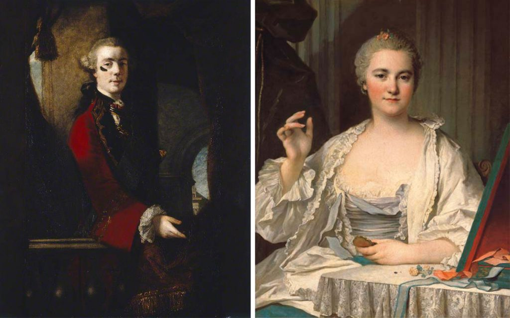 "Top: Henry Robert Morland's 1769 painting, ""The Fair Nun Unmasked,"" referenced the contrived appearance of prostitutes. (Via the <a href=""http://www.leedsartgallery.co.uk/"" target=""_blank"">Leeds Art Gallery</a>) Above left: Joshua Reynolds' portrait of Charles, 9th Lord Cathcart wearing a large face patch, c. 1753-1755. (Via the <a href=""https://artuk.org/discover/artworks/charles-9th-lord-cathcart-205898"" target=""_blank"">Manchester Art Gallery</a>) Above right: Louis Tocqué's 18th-century portrait, ""<em>La Mouche</em>: A Lady at Her Toilet,"" captures a women applying beauty patches."