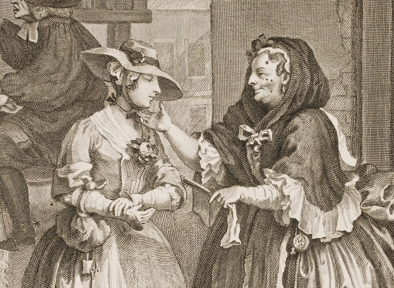 "A detail of William Hogarth's ""A Harlot's Progress,"" from 1732 shows Elizabeth Needham, the older prostitute dotted with patches, greeting fresh-faced Moll Hackabout. Via Wikimedia."