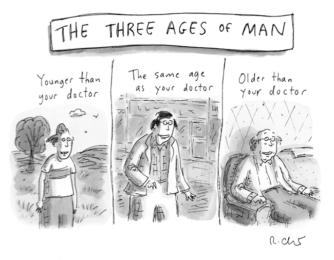 """The Three Ages of Man,"" 2012, by Roz Chast. Image via Danese/Corey Gallery, New York. © Roz Chast. All rights reserved."