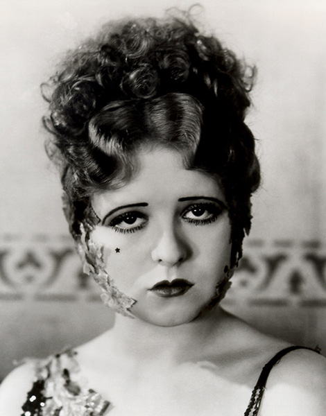 Silent-film star Clara Bow was regularly photographed wearing artificial beauty marks, as seen in this image from 1929.