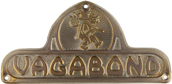 Vagabond's metal emblem for its mobile homes and travel trailer, circa 1940s-'50s, depicts a hobo with a bindle. (From Don't Call Them Trailer Trash, courtesy of Schiffer Publishing)