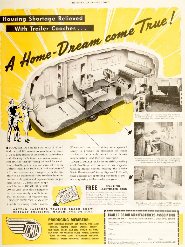 "This trailer ad in the March 9, 1946, edition of ""Saturday Evening Post"" refers to the post-World War II housing shortage. You can see the living quarters in the cutaways has no bathroom. (From Don't Call Them Trailer Trash, courtesy of Schiffer Publishing)"