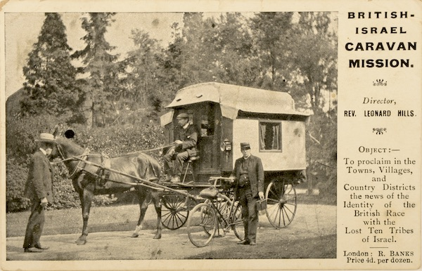 The horse carriage in this missionary postcard, sent in 1904, features the trolley design that was adopted for early British trailers. (From Don't Call Them Trailer Trash, courtesy of Schiffer Publishing)