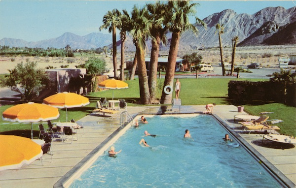 "This 1950s advertising postcard for Blue Skies Trailer Village near Palm Springs, California, brags, ""It is the concept of Bing Crosby, President. Co-habitues (and landlords) include Humphrey Bogart and Lauren Bacall, Jack Benny, Barbara Stanwyck, Danny Kaye, Greer Garson, George Burns and Gracie Allen, Jose Ferrer and Rosemary Clooney, Claudette Colbert, and many others."" (From Don't Call Them Trailer Trash, courtesy of Schiffer Publishing)"