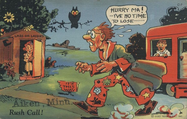 A linen comic postcard, circa 1940, shows a man rushing to an outhouse from his trailer. (Via eBay)