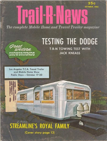 "Streamline was a brand of Modernist airplane-fuselage-style trailers that competed with Airstream. The line was featured in the October 1963 issue of ""Trail-R-News."" (Via TomPatterson.com)"
