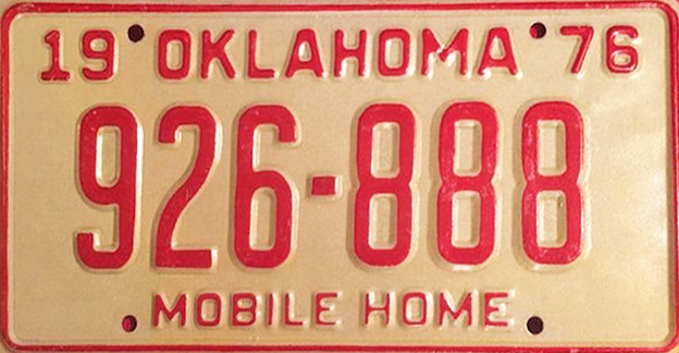 Some collectors are drawn to mobile-home license plates, like this 1976 tag from Oklahoma, a state that's famous for its tornado season. (Via eBay)