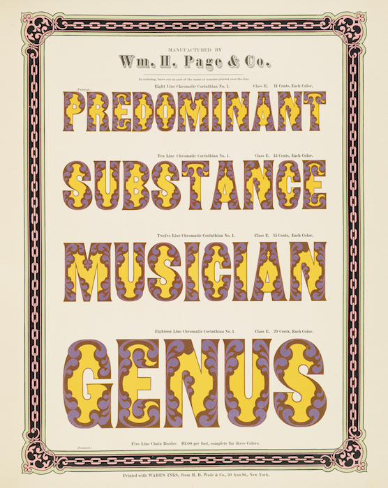 Purple and yellow, which combine to produce brown, give this Victorian-Era font, Corinthian No. 1, an almost psychedelic appearance.