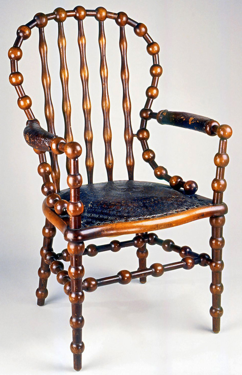 This 1890s Hunzinger Chair Came With A Removable Leather Back Panel, Which  Partially Hid The