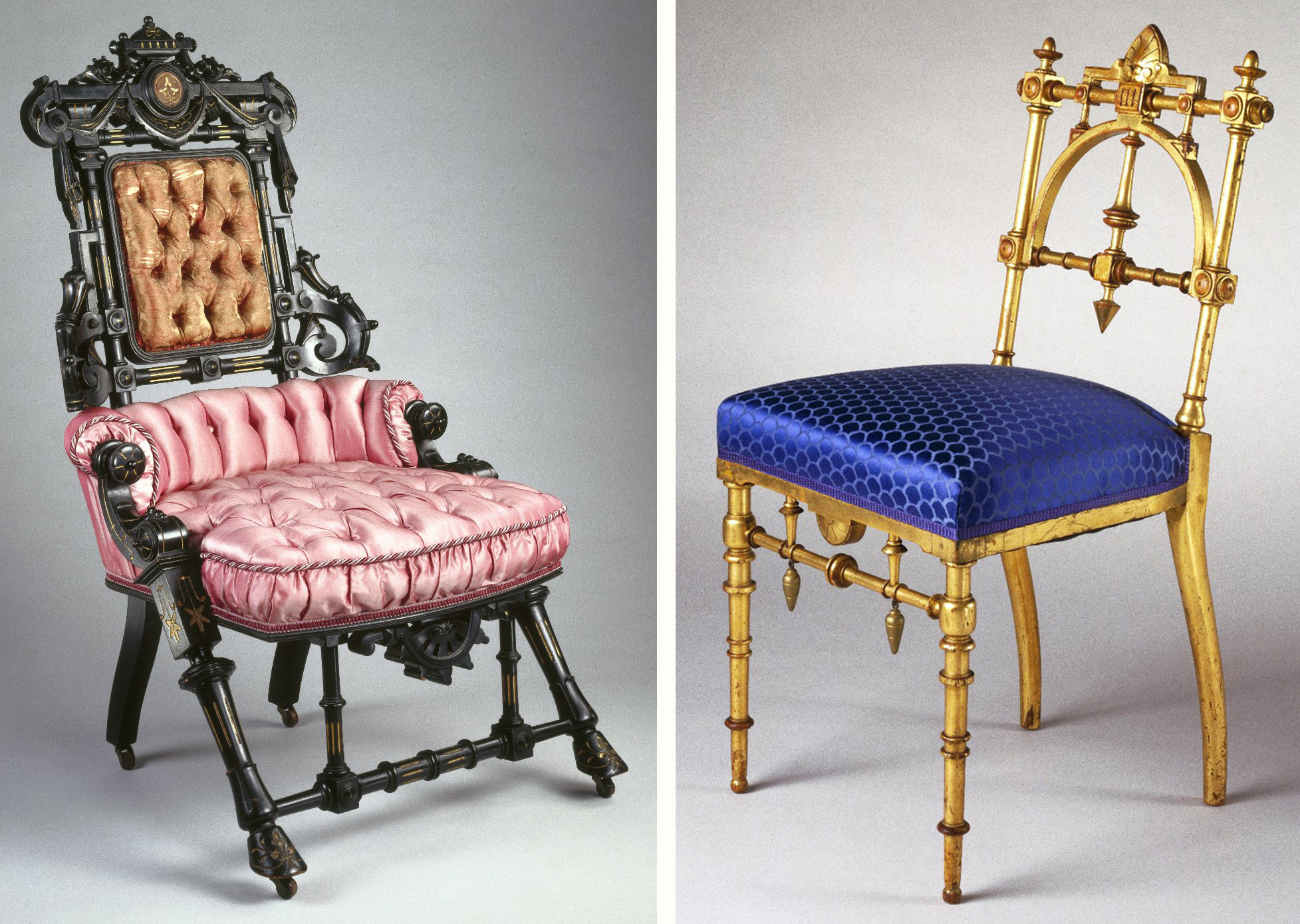 Left, An 1869 Hunzinger Chair Of Ebonized Wood Features Overt Ornamentation  Popular At The Time