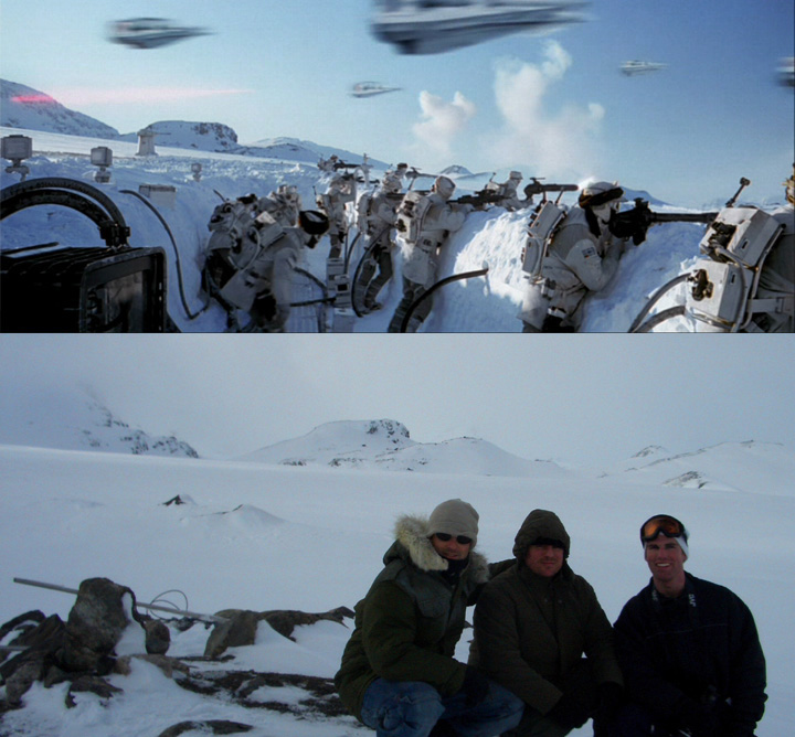 "At top, the Rebels fight the Empire from snow trenches on Hoth, the glacier planet in a still from 1980's ""Empire Strikes Back."" Above, in 2005, Brandon Alinger, right, and friends Andy Golding and Stephen Lane visited the Hardangerjøkulen glacier near Finse, Norway, where the Battle of Hoth was shot. (Courtesy of Brandon Alinger)"