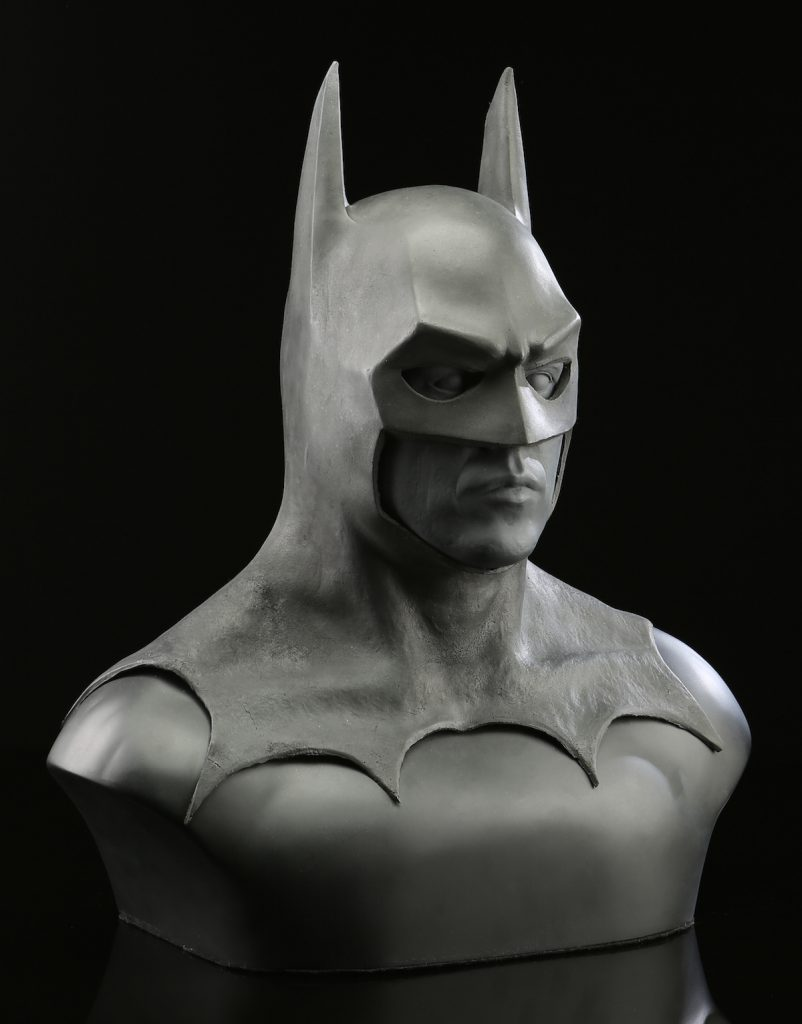"Alinger also owns a ""Batman"" cowl made for the 1989 Tim Burton film starring Michael Keaton—it was never used. (Courtesy of Brandon Alinger)"