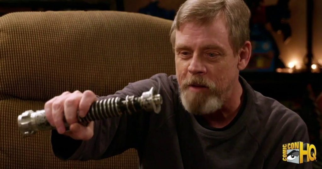 "In a still from 2016's ""Mark Hamill's Pop Culture Quest,"" Hamill holds his ""Return of the Jedi"" lightsaber, which now belongs to Alinger, and recollects how the crew created the light effects."