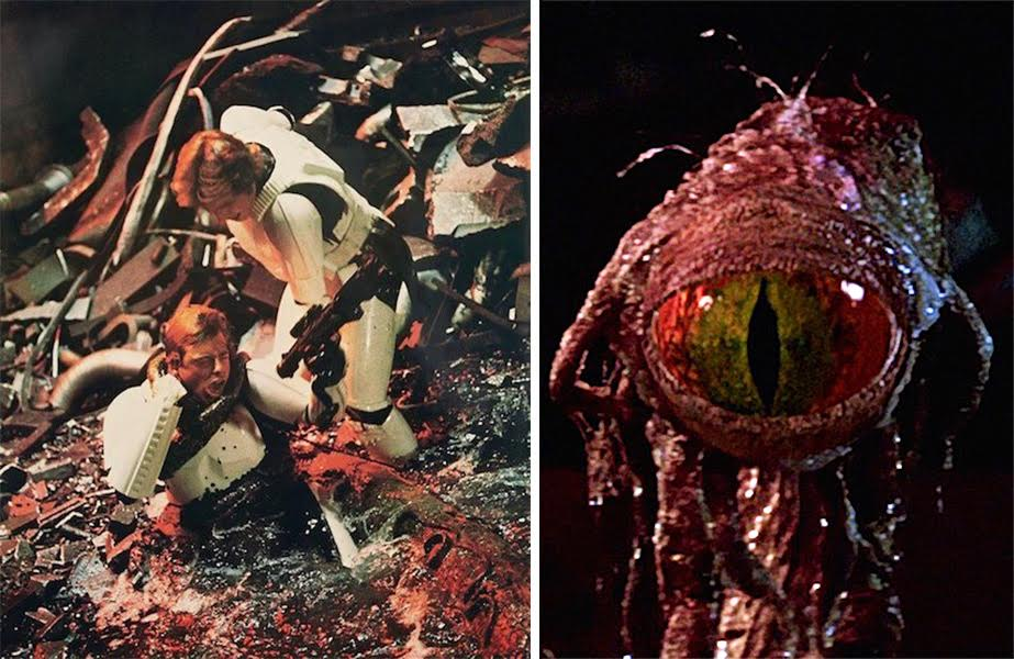 "In ""A New Hope,"" Han Solo helps Luke Skywalker, who's being choked by a tentacle of the ""trash-compactor monster,"" called ""dianoga"" in toy play sets. The dianoga's cyclops-type head, right, was designed by Phil Tippett and added to the movie later at Industrial Light & Magic. The Prop Store sold this piece on auction for $50,000 in November 2016."