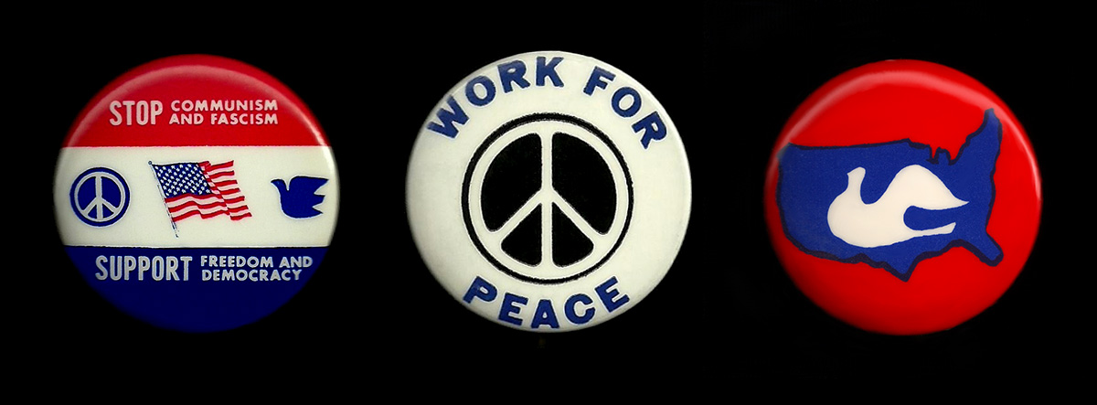 Three buttons designed by Larry Fox in the late 1960s.