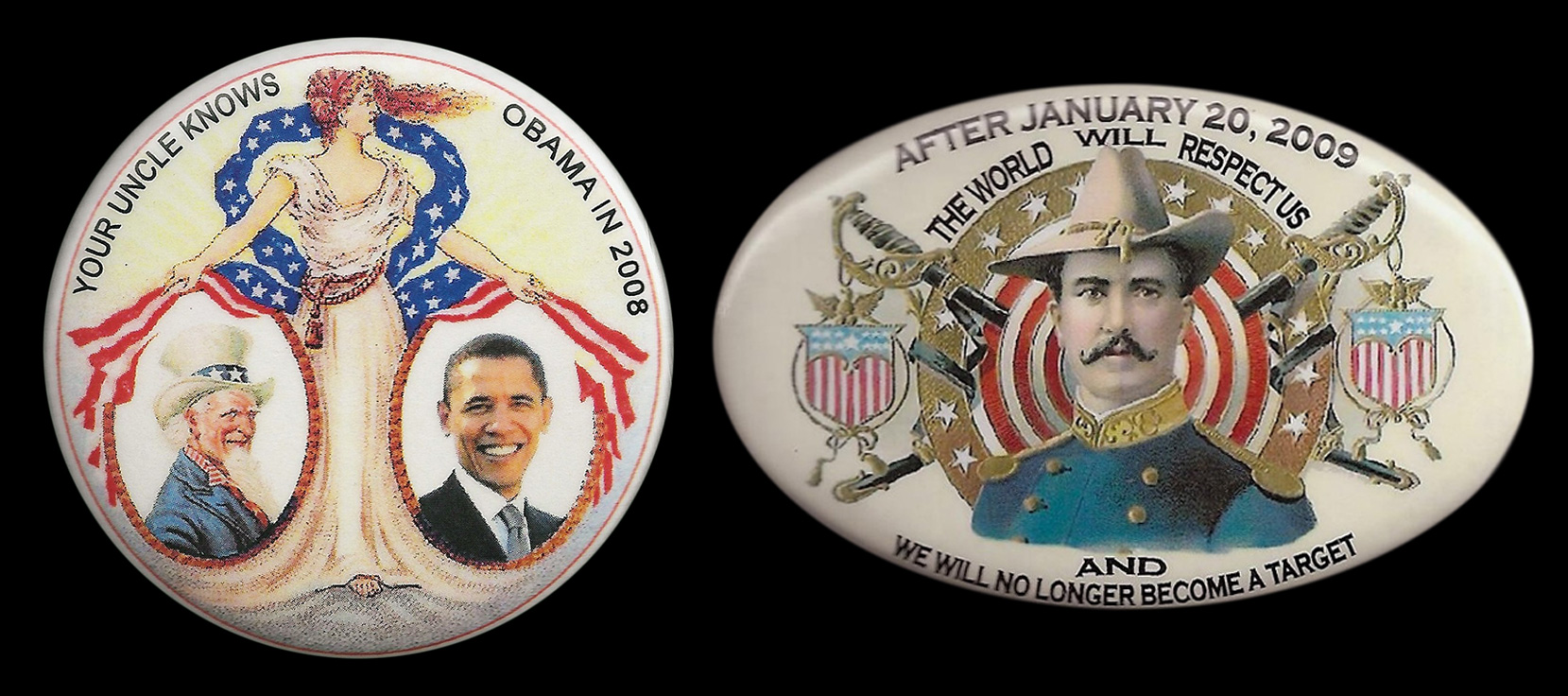 Two buttons designed by Guardfrog's Bob Alexander in 2008 with antique-looking imagery. (Click to enlarge.)