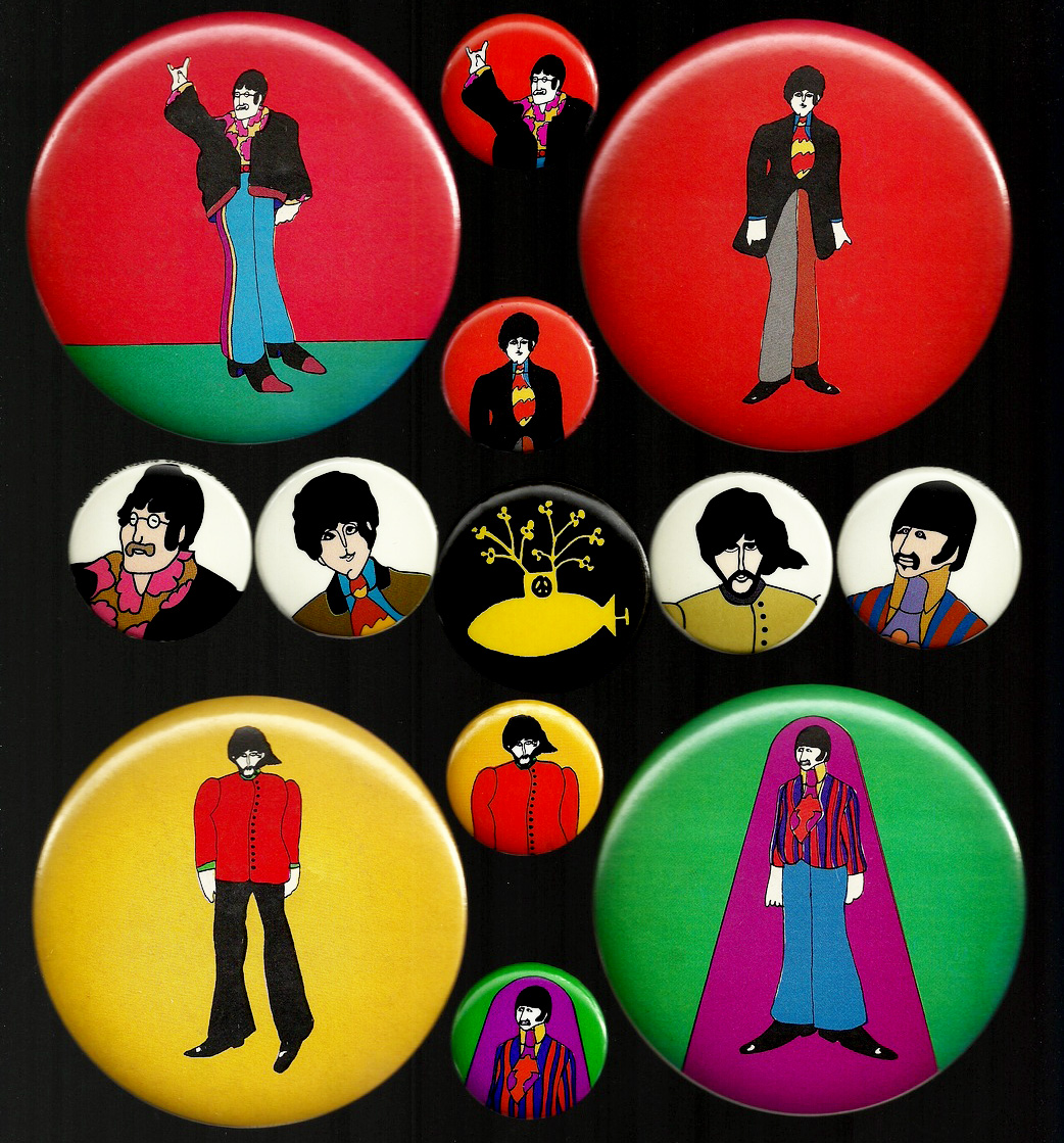 Aisthorpe's complete set of the Beatles' Yellow Submarine buttons from 1968.