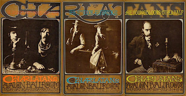 "Above: The Victorian-outlaw look of the Charlatans was captured best by photographer <a href=""http://www.herbgreenefoto.com/"" target=""_blank"">Herb Greene</a>, whose photographs of the band were used in three posters by Rick Griffin and Robert Fried for shows at the Avalon Ballroom in May, June, and July of 1967. Top: The band members in the top photo, from left to right, are George Hunter, Richard Olsen, Mike Wilhelm, Dan Hicks, and Mick Ferguson."