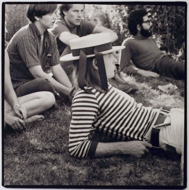 George Hunter (in hat) at Rancho Olompali, late spring, 1966. Photograph by Herb Greene.