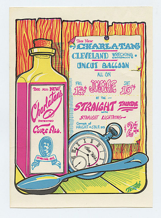 By the time of this June 1968 show at the Straight Theatre, Richard Olsen and Mike Wilhelm were the only two original members of the Charlatans in the band. Poster is by Nathan Terre.