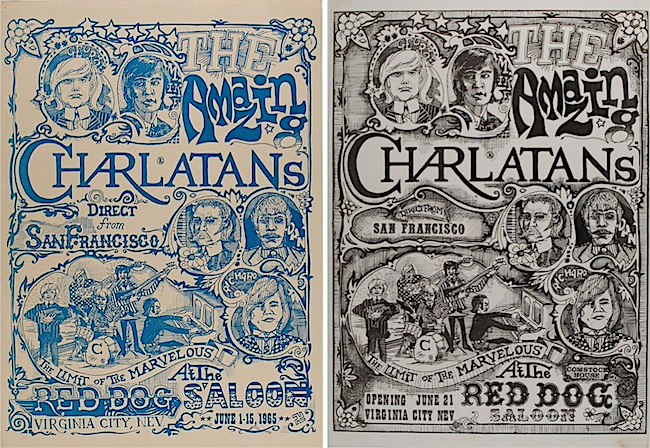 "The two versions of the poster created by Mike Ferguson and George Hunter for the Charlatans 1965 shows at the Red Dog are both known as ""The Seed"" because the poster started the psychedelic-poster scene that would flower the following year."
