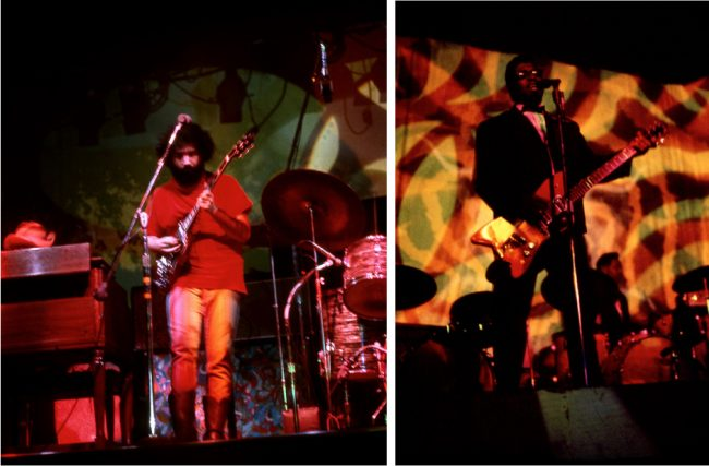 Although there were lost of places to see music in San Francisco in the late 1960s, the Fillmore and the Avalon were the two main dance halls. At left, Jerry Garcia performing with the Grateful Dead in 1968. At right, Bo Diddley performing at the Avalon in 1967. Both photos by Steve Fitch.