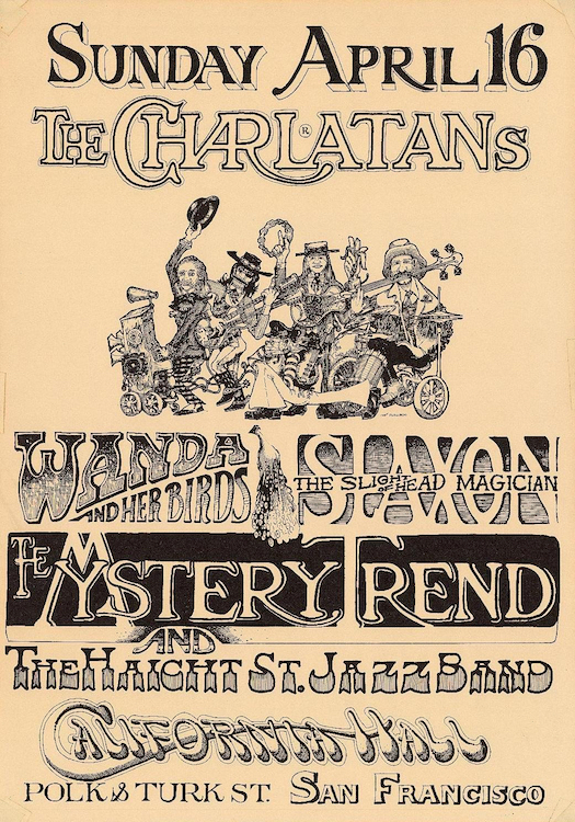 This poster from 1966 was designed by Mike Ferguson for one of the band's shows at California Hall. Via ClassicPosters.com.