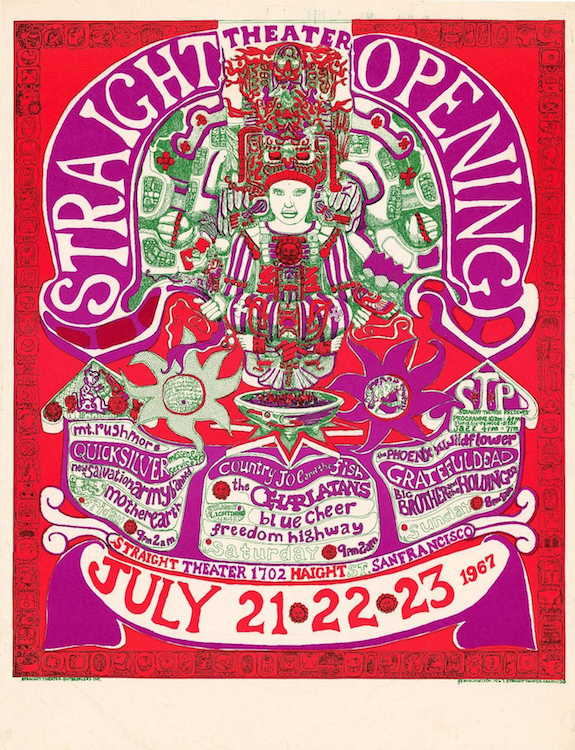 Along with the Grateful Dead, Country Joe & the Fish, Quicksilver Messenger Service, and Big Brother and the Holding Company, the Charlatans played the opening of the Straight Theater on Haight Street during the Summer of Love. Poster by Frank Melton via ClassicPosters.com.