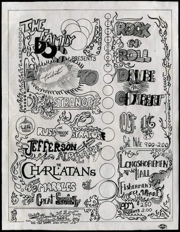"In October of 1965, the Family Dog produced three shows at Longshoremen's Hall. Each was promoted as a ""tribute"" to various comic-book characters, and each featured the Charlatans on the bill. Via ClassicPosters.com"