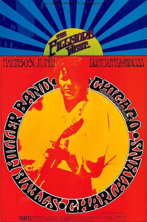 One of the Charlatans' last performances was at the Fillmore West in 1969. Poster by Randy Tuten via ClassicPosters.com.