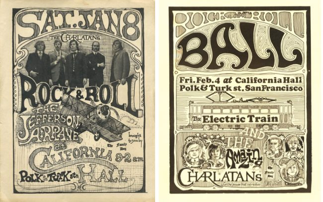 Along with the Family Dog and future Grateful Dead manager Rock Scully, George Hunter produced a pair of shows in early 1966 at California Hall. The first one with Jefferson Airplane was a huge success, but the second with Electric train was a bust. Hunter designed the first and collaborated with bandmate Ferguson on the second. Both via ClassicPosters.com.