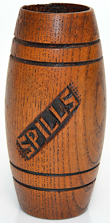 This small (under 4 inches tall) spill vase held splints for transferring a burning flame from, say, a fireplace or stove to a candle.
