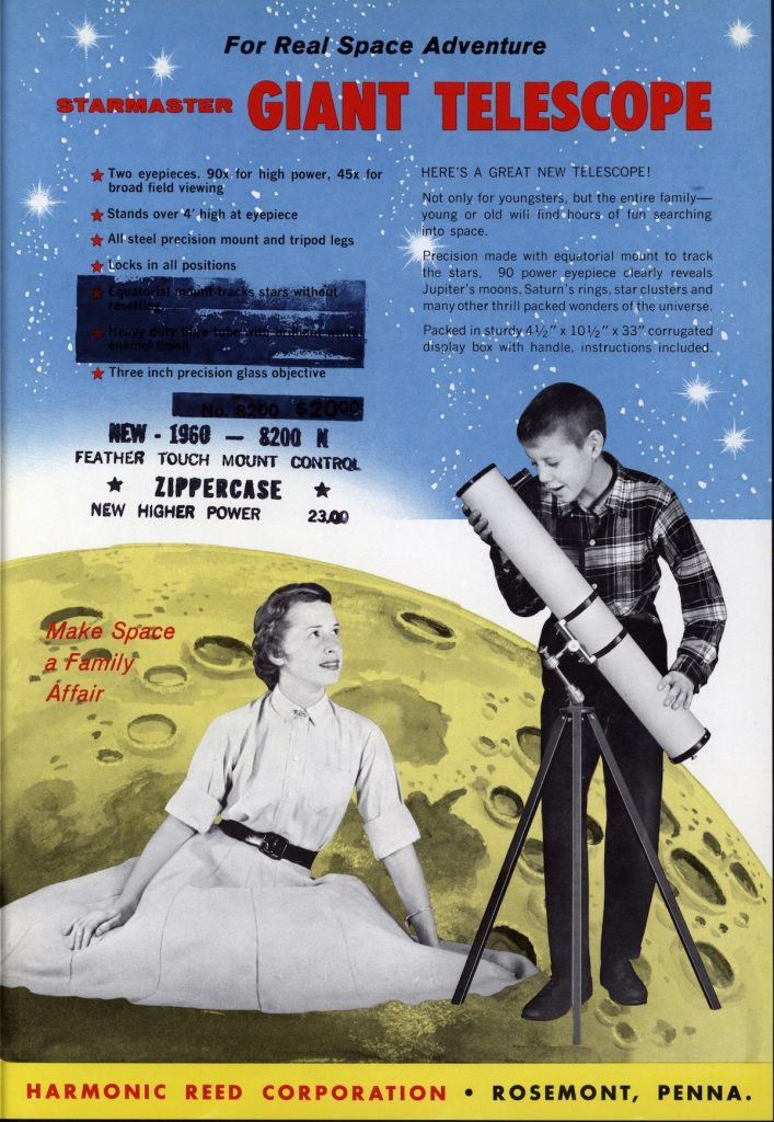 This page from a Starmaster Scientific Toy brochure depicts stargazing as an activity that brings the family together—even if the mom only watches her son use the telescope. Click on the image to see a larger version of it. (From Innocent Experiments, courtesy of The Strong)