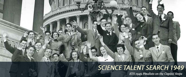 The finalists of the 1949 Westinghouse Science Talent Search pose in front of the U.S. Capitol. (Via Society for Science & the Public)