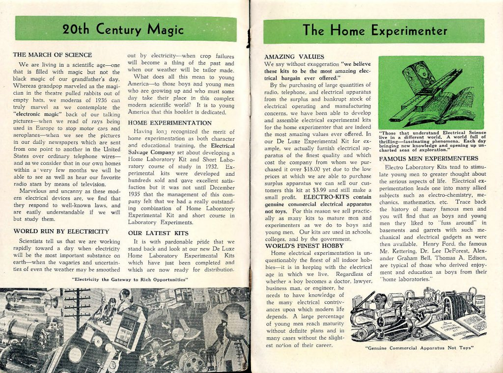 "The instruction manual for the 1936 Electro Experimental Kits begins, ""We are living in a scientific age—one that is filled with magic but not the black magic of our grandfather's day."" The other page cites Edison and Henry Ford as home experimenters who learned science in their basements. Click on the image to see it larger. (Via eBay)"