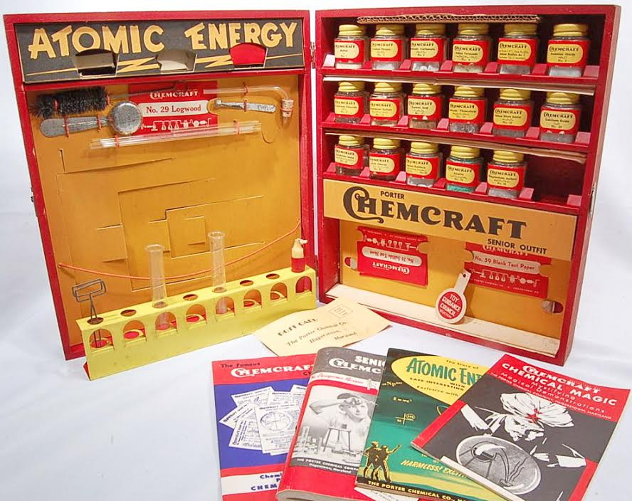 This 1950s Chemcraft Chemistry Set, #414 Atomic Energy, contained uranium. At the time, the United States was in a nuclear arms race with the Soviet Union, and professional scientists were just starting to understand atomic energy. (Via eBay)