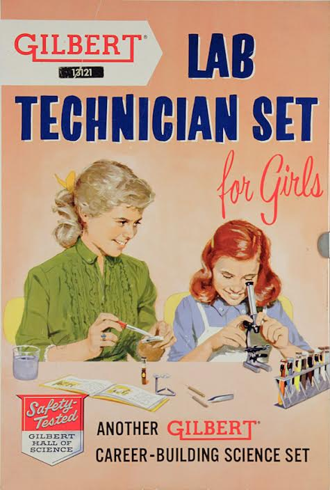 In 1958, A.C. Gilbert's company realized they could make money selling chemistry sets for girls—as long as girls understood their place in the lab. (From Innocent Experiments, courtesy of the Chemical Heritage Foundation)