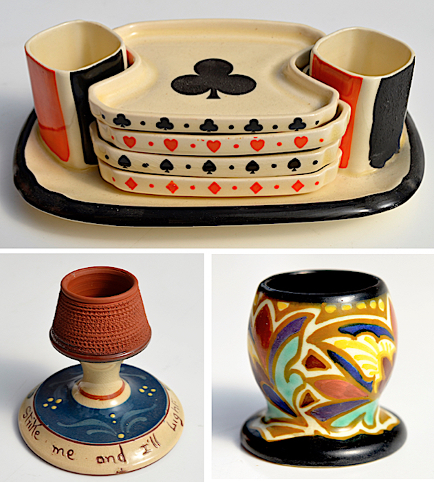 Three examples of ceramic match holders by (clockwise from top) Royal Doulton, Gouda, and Torquay potteries.